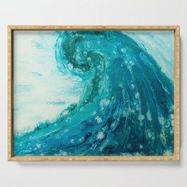 Crashing Waves Resin Painting Serving Tray
