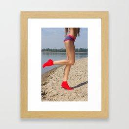Red socks Framed Art Print
