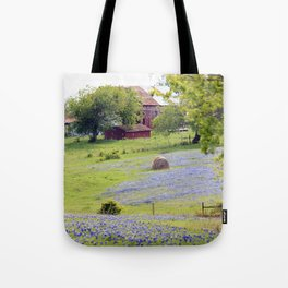 Old Red Barn and Rolling Bluebonnet Hills Tote Bag