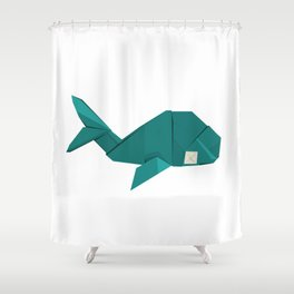 Origami Whale Shower Curtain