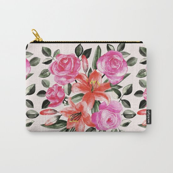 Roses and Lilies in watercolor Carry-All Pouch