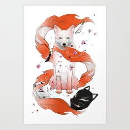 Red Kitsune Art Print