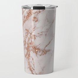 Abstract blush gray rose gold glitter marble Travel Mug