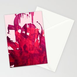 Embers: a vibrant abstract piece in pinks Stationery Cards