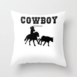 Cowboy Gift Maverick And Horse Lover Black Throw Pillow