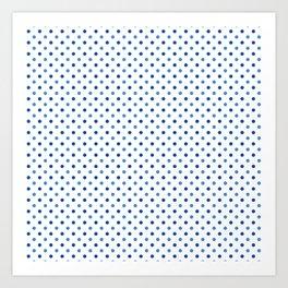 Geometrical trendy navy blue white polka dots pattern Art Print