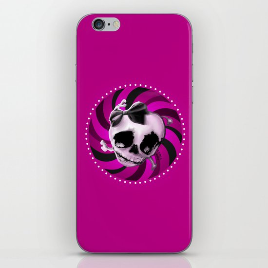 Girly Pink Skull with Black Bow iPhone & iPod Skin