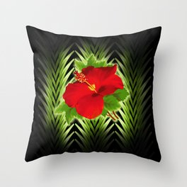 red hibiscus at midnight Throw Pillow