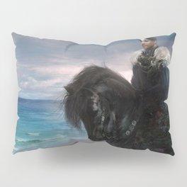 Hiraeth - Knight on Friesian black horse Pillow Sham