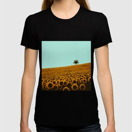 Sunflowers in green T-shirt