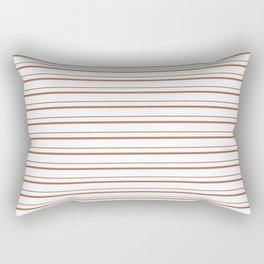 Sherwin Williams Cavern Clay Horizontal Line Pattern on White 3 Rectangular Pillow