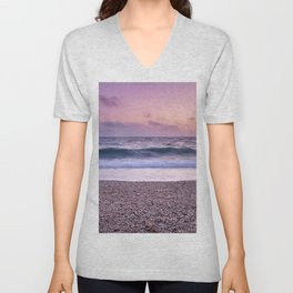 """Serenity sea"". Purple sunset at the beach Unisex V-Neck"