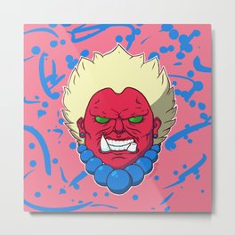 Oni Head Metal Print