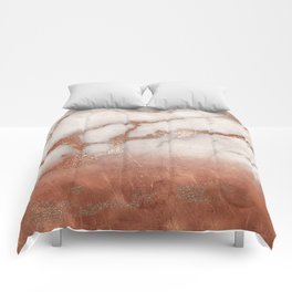 Shiny Copper Metal Foil Gold Ombre Bohemian Marble Comforters