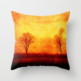 Lone trees on an English winters day  Throw Pillow
