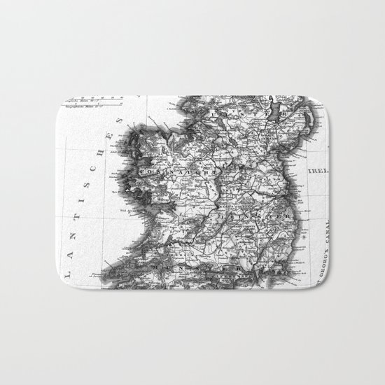 Vintage Black and White Ireland MAp Bath Mat