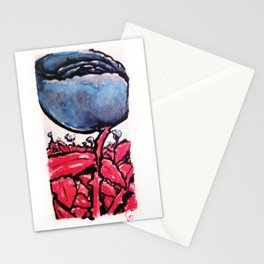 Red Stemmed Blue Roses field Stationery Cards