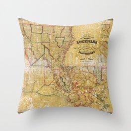 La Tourrette's Map of Louisiana (1848) Throw Pillow