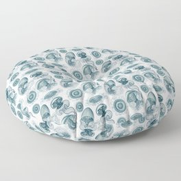 Ernst Haeckel Jellyfish Leptomedusae Cerulean Floor Pillow