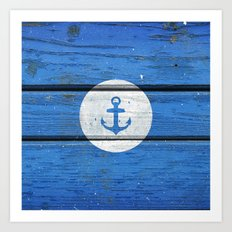 Nautical White Anchor on Vintage Blue Wood Panels Art Print