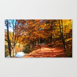Autumn foliage at the alpine lake Canvas Print