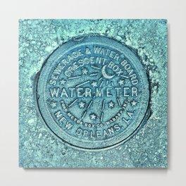 New Orleans Water Meter Louisiana Crescent City NOLA Water Board Metalwork Blue Green Metal Print