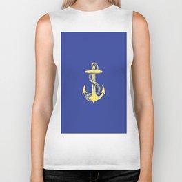 Modern royal blue sunshine yellow nautical anchor Biker Tank