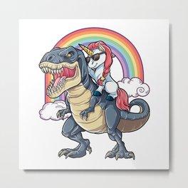Unicorn riding Dinosaur Metal Print