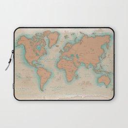 Vintage Style World Map - Nautical Print Laptop Sleeve