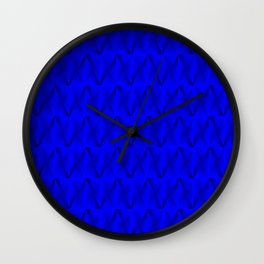 Trickling iridescent blue rhombs from black triangles with volume. Wall Clock