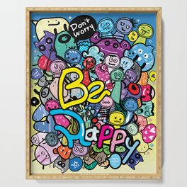 Be Happy doodle monster Serving Tray