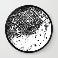 barcelona Wall Clocks featuring Barcelona by Maps Factory