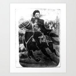 original rare WWII Cossack cavalyram Studio photo horseman sword Art Print