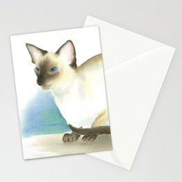 Chocolate point siamese cat 3 Stationery Cards