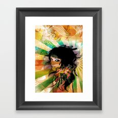 floral girl Framed Art Print