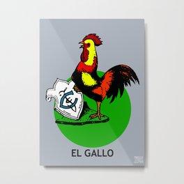 El Gallo Mexican Loteria Metal Print