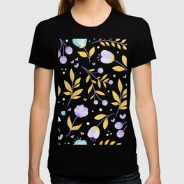 teal and purple flowers T-shirt