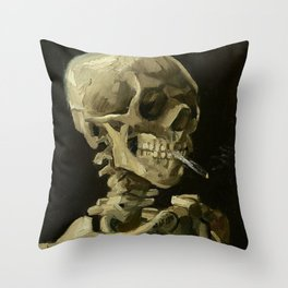 Skull of a Skeleton with Burning Cigarette - Van Gogh Throw Pillow