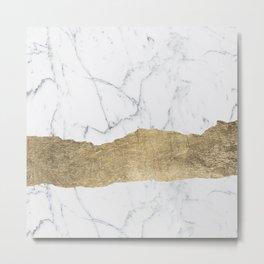 Elegant faux gold foil gray white modern marble Metal Print