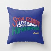 mandela Throw Pillows featuring #Mandela by Vaughn Fender