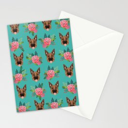 German Shepherd florals bouquet dog breed pet friendly pattern dogs Stationery Cards