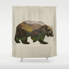 north american brown bear shower curtain