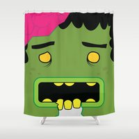 zombie Shower Curtains featuring Zombie by Visual Heist