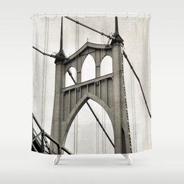 ST. JOHNS BRIDGE - PORTLAND OREGON - IN BLACK & WHITE Shower Curtain