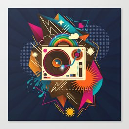 Goodtime Party Music Retro Rainbow Turntable Graphic Canvas Print