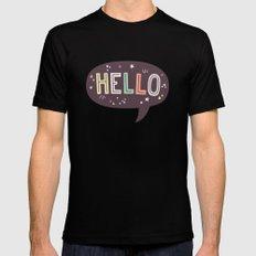 Hello Speech Bubble Black MEDIUM Mens Fitted Tee