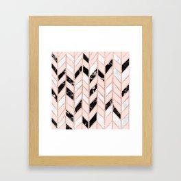 Rose gold glitter chevron herringbone black white marble pattern Framed Art Print
