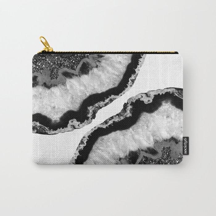 Gray Black White Agate Glitter Glamor #2 #gem #decor #art #society6 Carry-All Pouch