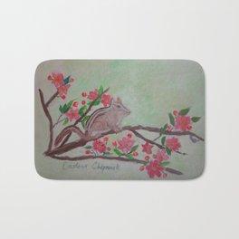 Eastern Chipmunk in Apple Tree Branch Art by Rosie Foshee Bath Mat