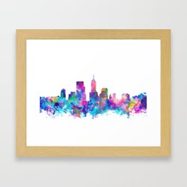 indianapolis city skyline watercolor 4 Framed Art Print